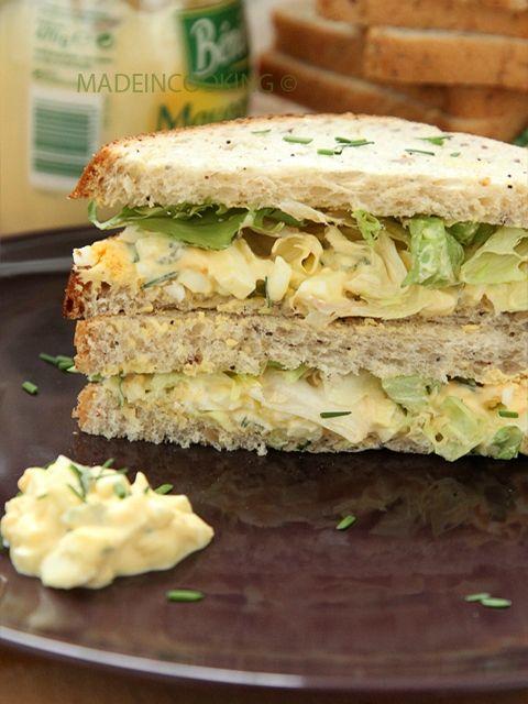 Sandwich aux oeufs et laitue (Egg salad sandwich) - Made In Cooking