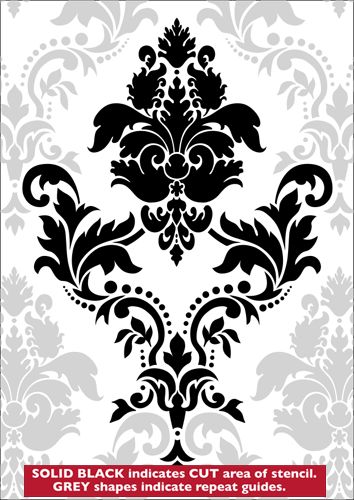 Large Damask stencil from The Stencil Library GOTHIC & MEDIEVAL range. Buy stencils online. Stencil code HG1.
