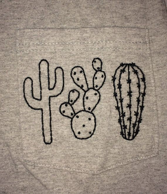 Hand Embroidered Cactus Pocket Tee by stitchandstuffs on Etsy