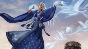 Preview wallpaper girl, magic, birds, witchcraft 1366x768