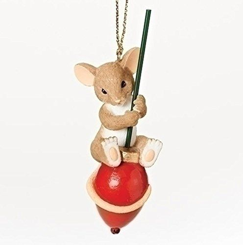 "Charming Tails ""You Make the Season Brighter"" Mouse on a Red Light Bulb Christmas Ornament"