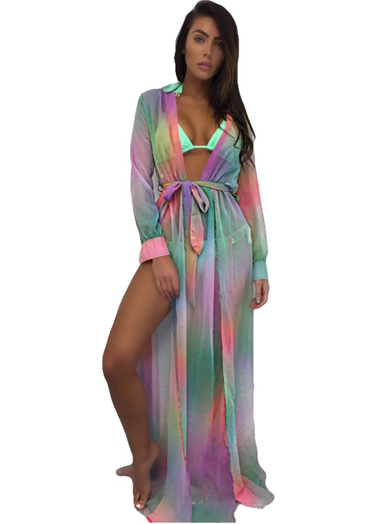 Chic Multi-Color Long Sleeve Swimsuit Cover-up Dress With Belt_Beach Dress_Swimwears_Sexy Lingeire | Cheap Plus Size Lingerie At Wholesale Price | Feelovely.com