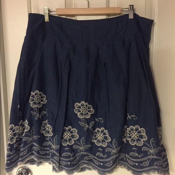 Blue embroidered skirt Blue embroidered skirt.  Worn a few times.  Hand wash. Metro Wear Skirts