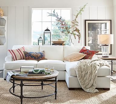 Townsend Upholstered Roll Arm Sofa with Reversible Storage Chaise Sectional #potterybarn