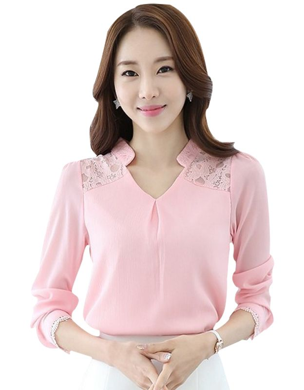 Women Lace Chiffon Shirt 2017 Summer Ladies Elegant Office Wear Clothes Long Sleeve V Neck Sexy Blouse 3XL Cheap Clothes 1391