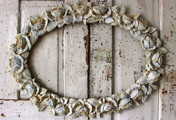 Rose picture frame wall hanging shabby chic distressed blue w/ cream large oval vintage art decoration home decor anita spero design