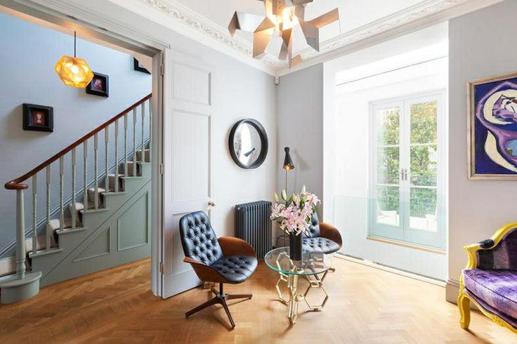 Parquet flooring / duck egg blue / Victorian house / London / interior design