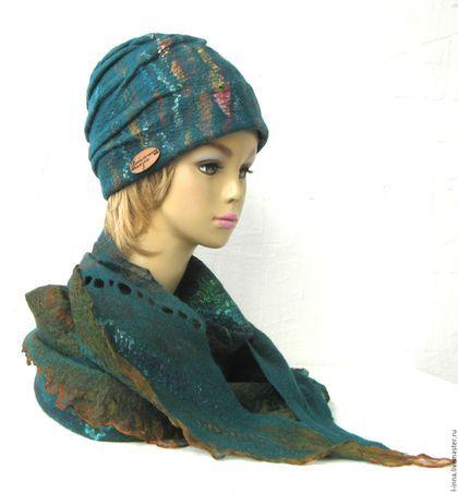 валяный шерстяной палантин шарф бактус темно-зеленый изумрудный с рыжим оригинальный палантин авторский войлок ручной работы