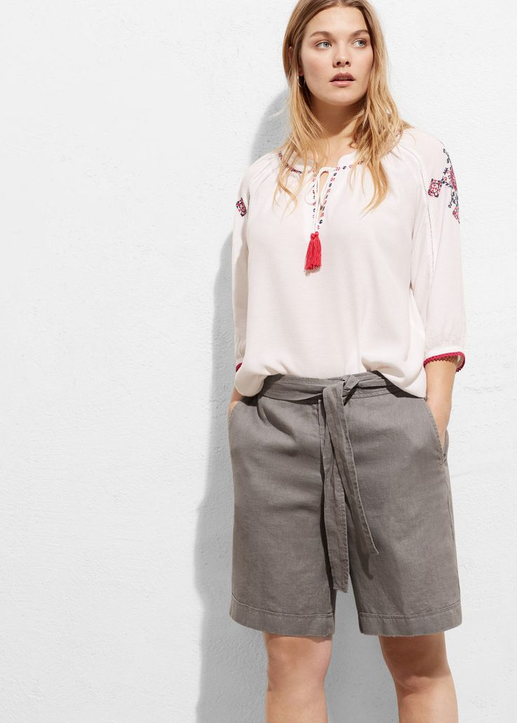 Linen bow bermuda shorts - Shorts Plus sizes | Violeta by MANGO USA