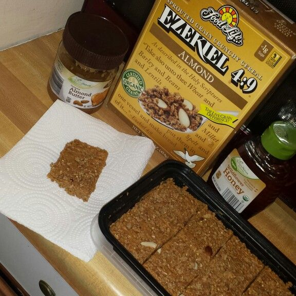 #Homemade granola bars and all you need is #Ezekiel #cereal #AlmondButter and…