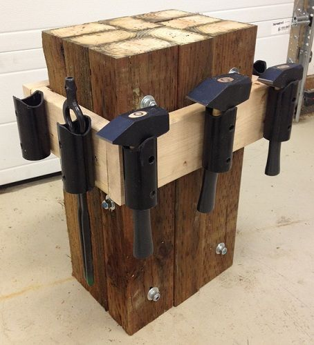 Shane Harvey (who couldn't find the original post where the anvil stand was made from a stump) built this anvil stand made up of PVC pipe attached to treated 4x6 boards bolted together.
