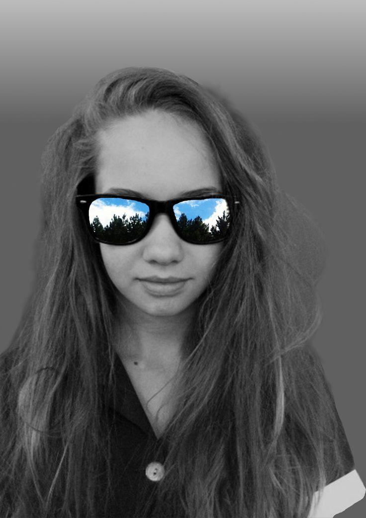 Jade Aucamp. GIMP girl glasses exposure art creative clever hair messy smile model pretty beautiful girl