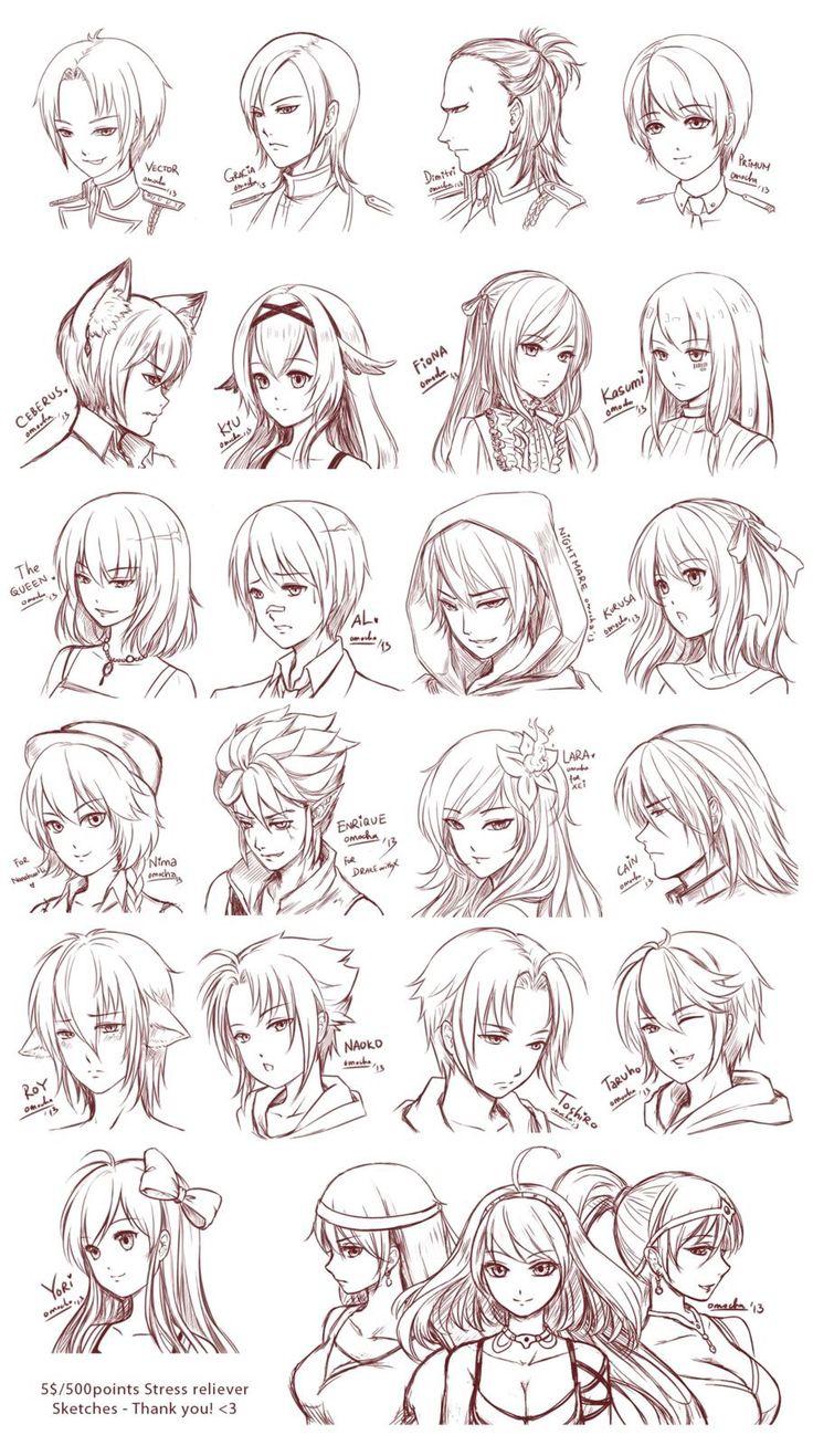 anime схема рисования головы