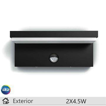Aplica LED exterior Philips Bustan antracit, cu senzor miscare, 2x4.5W http://www.etbm.ro/iluminat-decorativ-exterior
