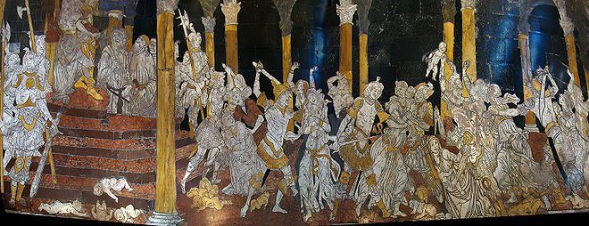 Beccafumi's pavements in the Siena Cathedral.... if you are in Siena, and the pavements are uncovered, they are not to be missed.   The way he uses the natural colourig of the stone.... it will blow you AWAY!