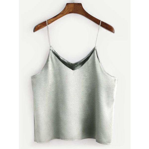 Silver Swing Satin Cami Top (71 MAD) ❤ liked on Polyvore featuring tops, silver, silver camisole, cami tank, camisole tank top, spaghetti strap tank tops and white spaghetti strap tank top