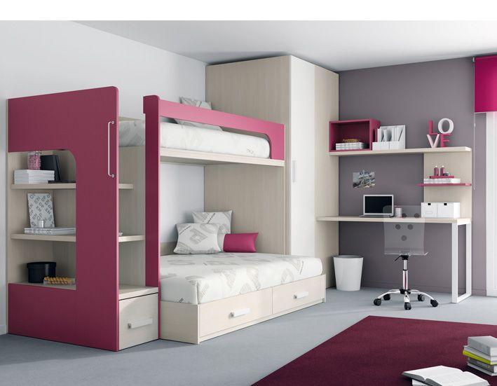 17 mejores im genes sobre literas y peque os espacios en - Habitaciones juveniles muebles tuco ...