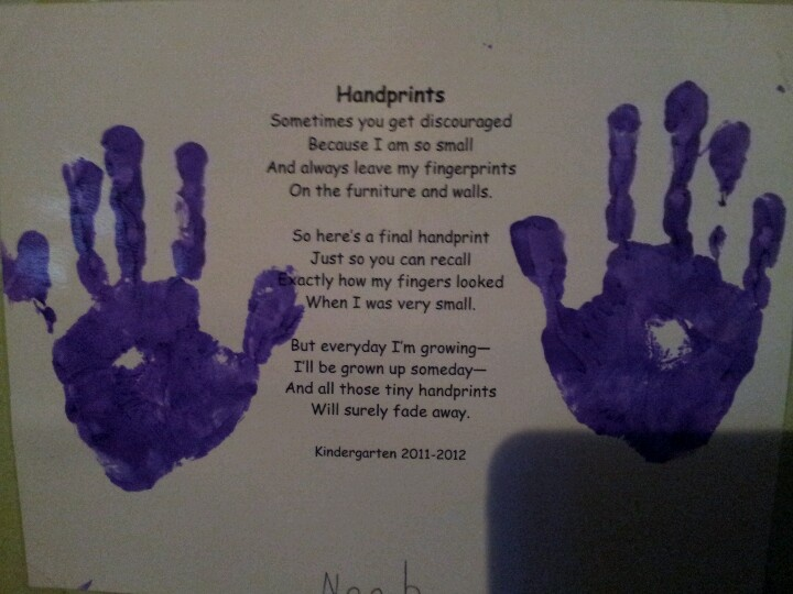 Kid's handprint with poem for family member