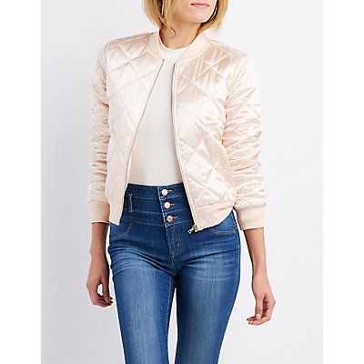 Pink Quilted Satin Bomber Jacket - Size XL