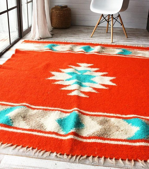 Wool Accent Rug Housewarming Gift Red Nursery Carpet