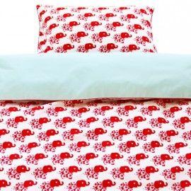 Baby dekbed set/hoes van Blafre olifant rood 80x100 cm