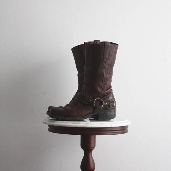 FRYE Boots Motorcycle 7.5 Women's Brown Leather Harness from fiiimac on etsy.ca