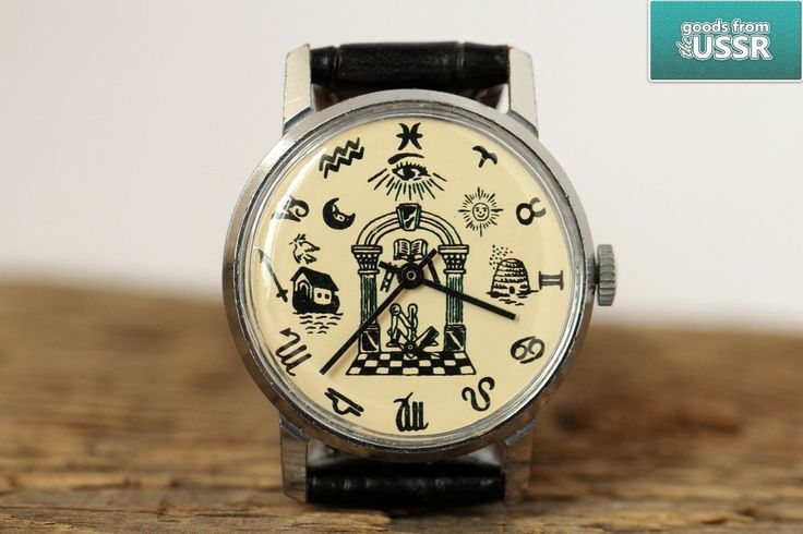 "Pobeda ZIM ""Masonic Simbols 2 World collection"" Vintage Wrist Watch q /Serviced #Pobeda #Fashion"