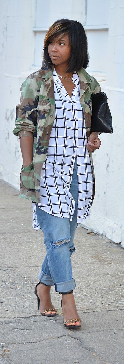 Camo,, Pattern Mix, Fall Outfit Idea, Stripes