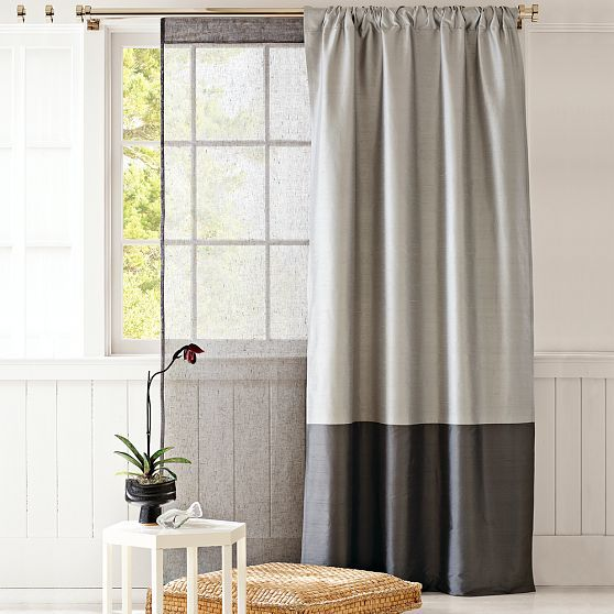 Love The Two Tone Curtain Perfect For A Room With High