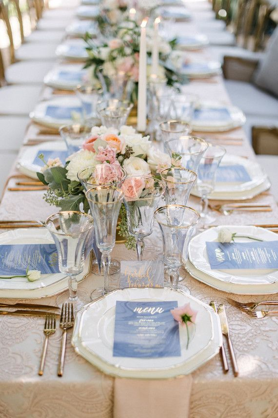 Pantone colored wedding tablescape