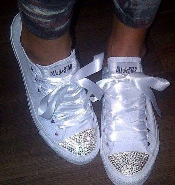mr and mrs chuck taylors   ... sparkles chuck taylor all stars white chucks converse bling-bling