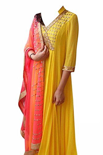 Khazanakart New Attractive Yellow Colour Georgette Fabric…
