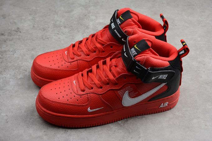 Nike Air Force 1 Mid 07 Overbranding University Red White Black