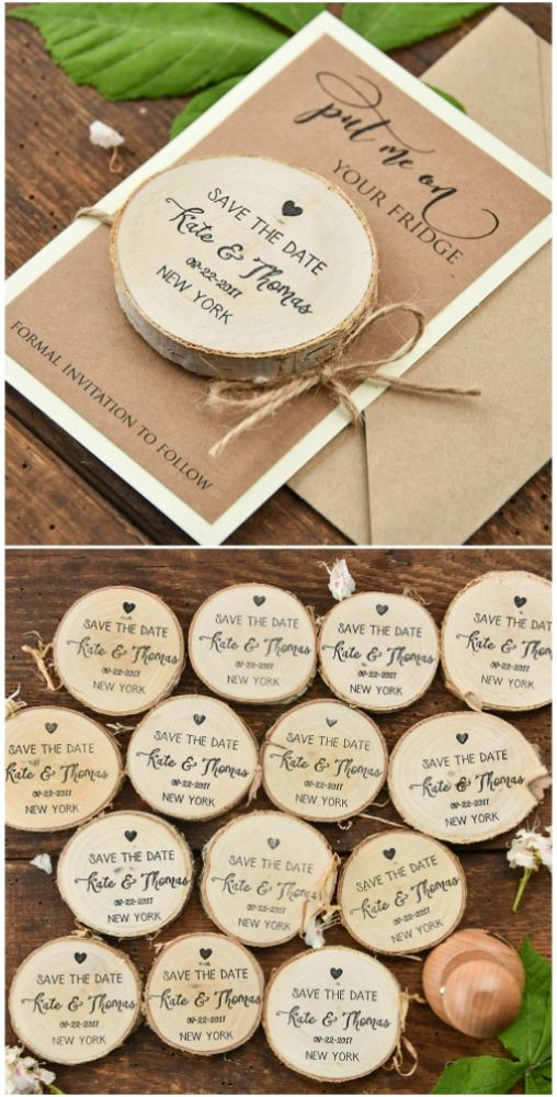 Save the Date card with wooden magnet #wedding #savethedate #custom #rustic #country #weddingideas