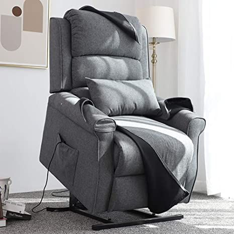 Irene House Power Lift Chair Modern Transitional Chair Lifts for Elderly Up to 300 LBS Soft Linen Breath Suede Fabric Sofa Lift Chairs Recliners Power Lift Recliner with Side Pocket (Grey) Fabric Armchairs, Fabric Sofa, Glider Recliner, Recliner Chairs, Oversized Recliner, Transitional Chairs, Chaise Cushions, Lift Recliners, Leather Recliner
