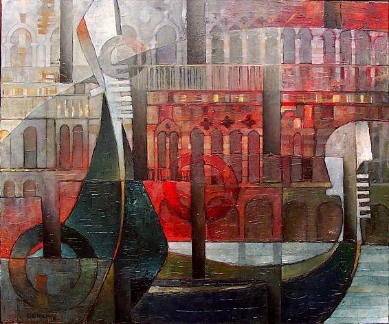 "Galleria scorrevole.                                              Sergio Cerchi, italian painter (Firenze), ""Venice"", oil on canvas."