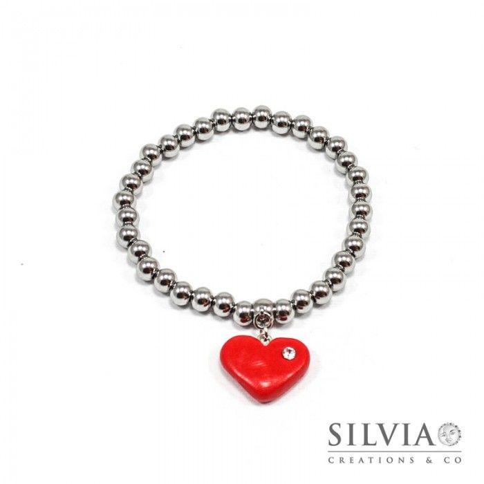 Bracciale perle acciaio con cuore rosso e strass