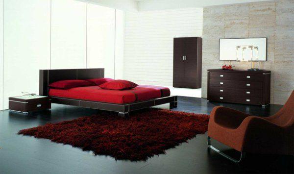 Minimalistische rote Schlafzimmer bettwäsche kommode liege