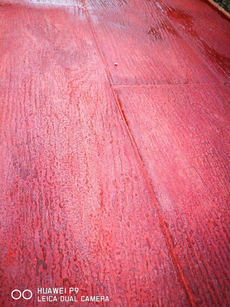 Piso de concreto estampado diseño de madera  color caoba