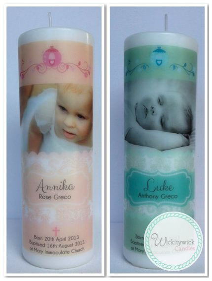 Enchanted Photo Personalised Candles by Wickitywick Candles #Baptism Candle #Christening Candle #Naming Day Candle www.wickitywickcandles.com.au