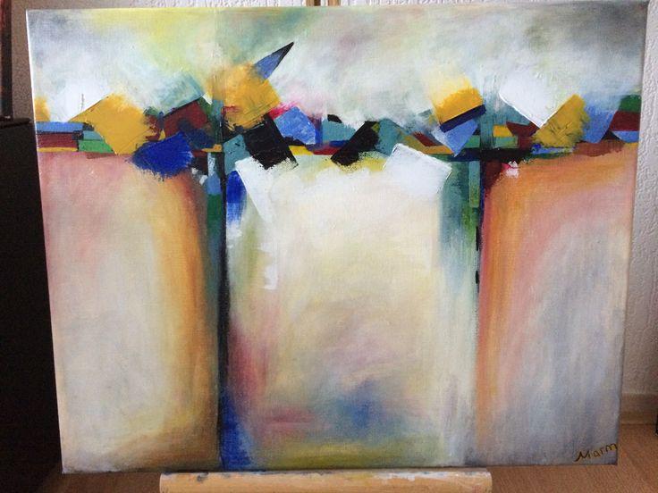 Naam: De Brug  Afmetingen: 50x40 Extra informatie: handgeschilderd; acrylverf en oliverf op canvas doek; meegeschilderde zijkanten; direct op te hangen; gesigneerd.