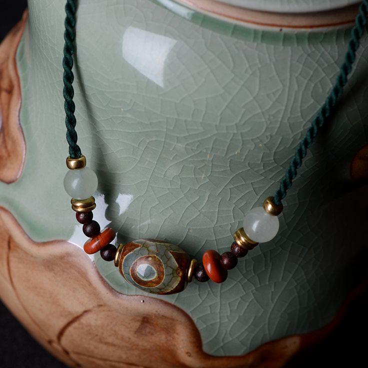 Handmade jewelry trendy chokers necklaces ethnic dzi beads pendant red stone aventurine pterocarpus santalinus rope chain