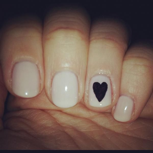 Single heart nail...Simple and really cute