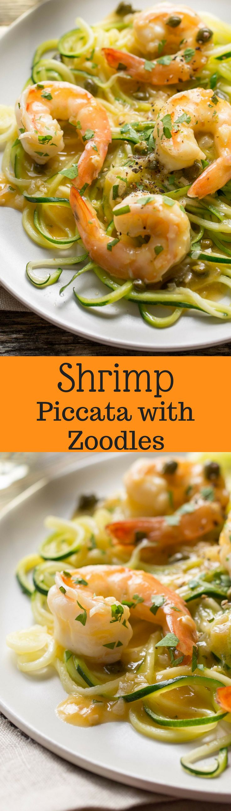 Shrimp Piccata with Zoodles - Zucchini noodles tossed with shrimp sautéed in garlic and topped with a white wine sauce. Served with capers and a squeeze of lemon ... dinner is on the table in less than 45 minutes!   www.savingdessert.com