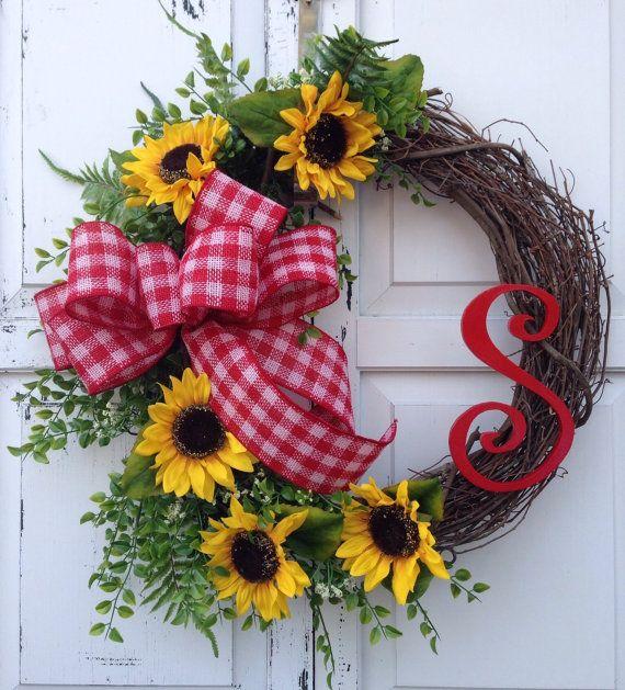 Sunflower wreath Monogram wreath Spring by KarensCustomWreaths, $66.00