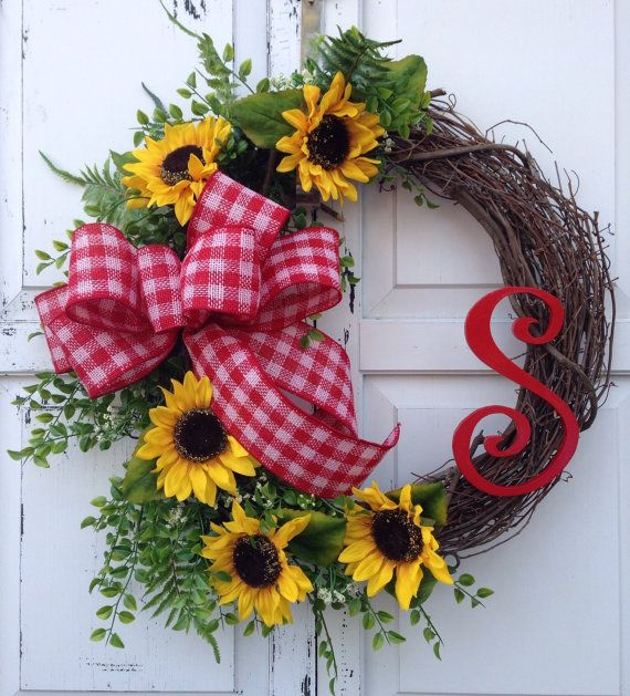 Sunflower wreath Monogram wreath Spring by KarensCustomWreaths, $66.00