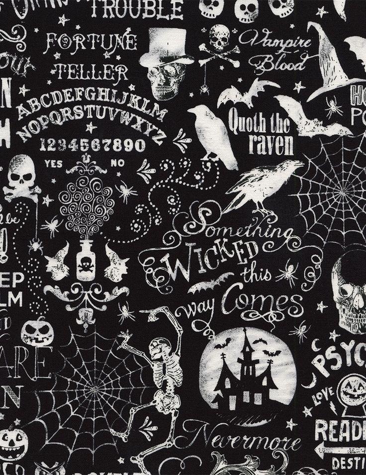 Halloween Chalkboard Fabric BY-THE-HALF-YARD; Timeless Treasures; C4680; Wicked #TimelessTreasuresFabric