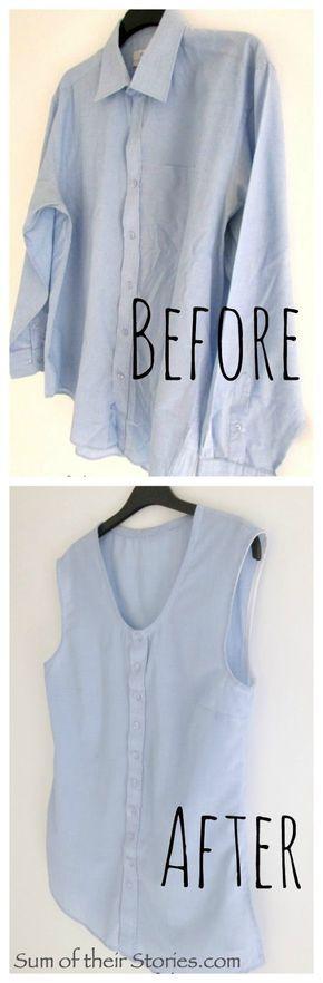 メンズシャツの襟と袖を切る
