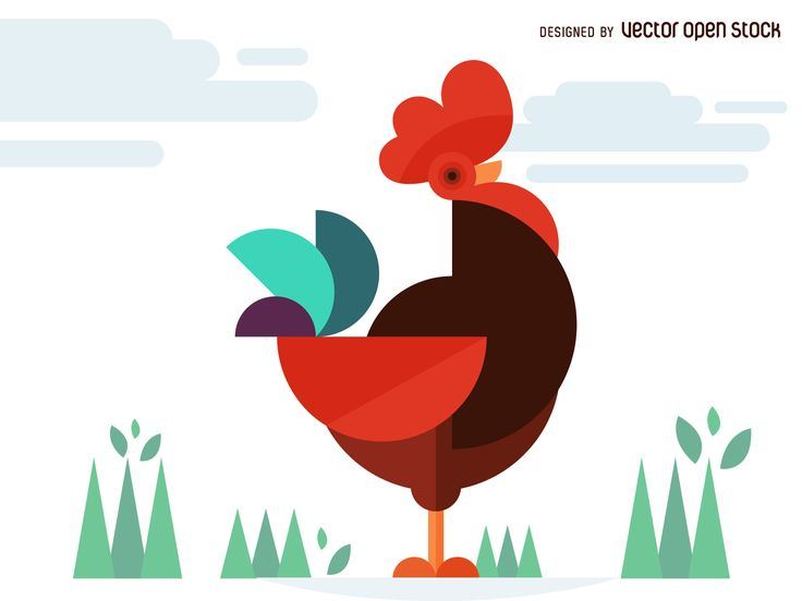 Chicken or rooster illustration made from geometric and polygonal shapes. Designed in bright colors.