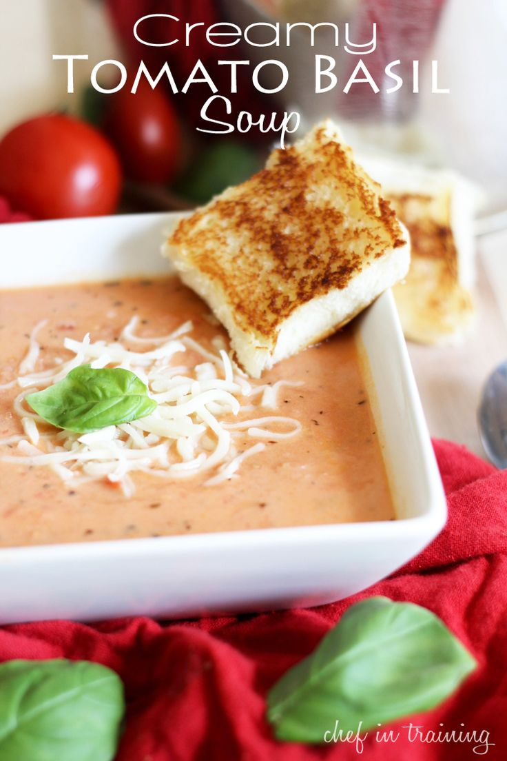 Creamy Tomato Basil Soup!... Perfect for the cooler days! It is one of my absolute favorite soups!: Creamy Tomatoes, Tomatoes Basil Soups, Tomatoes Soups, Soups Recipes, Grilled Cheese, Soup Recipes, Tomato Basil Soup, Favorite Soups, Absolutely Favorite